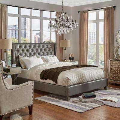 Venus Silver Metallic Queen Standard Bed
