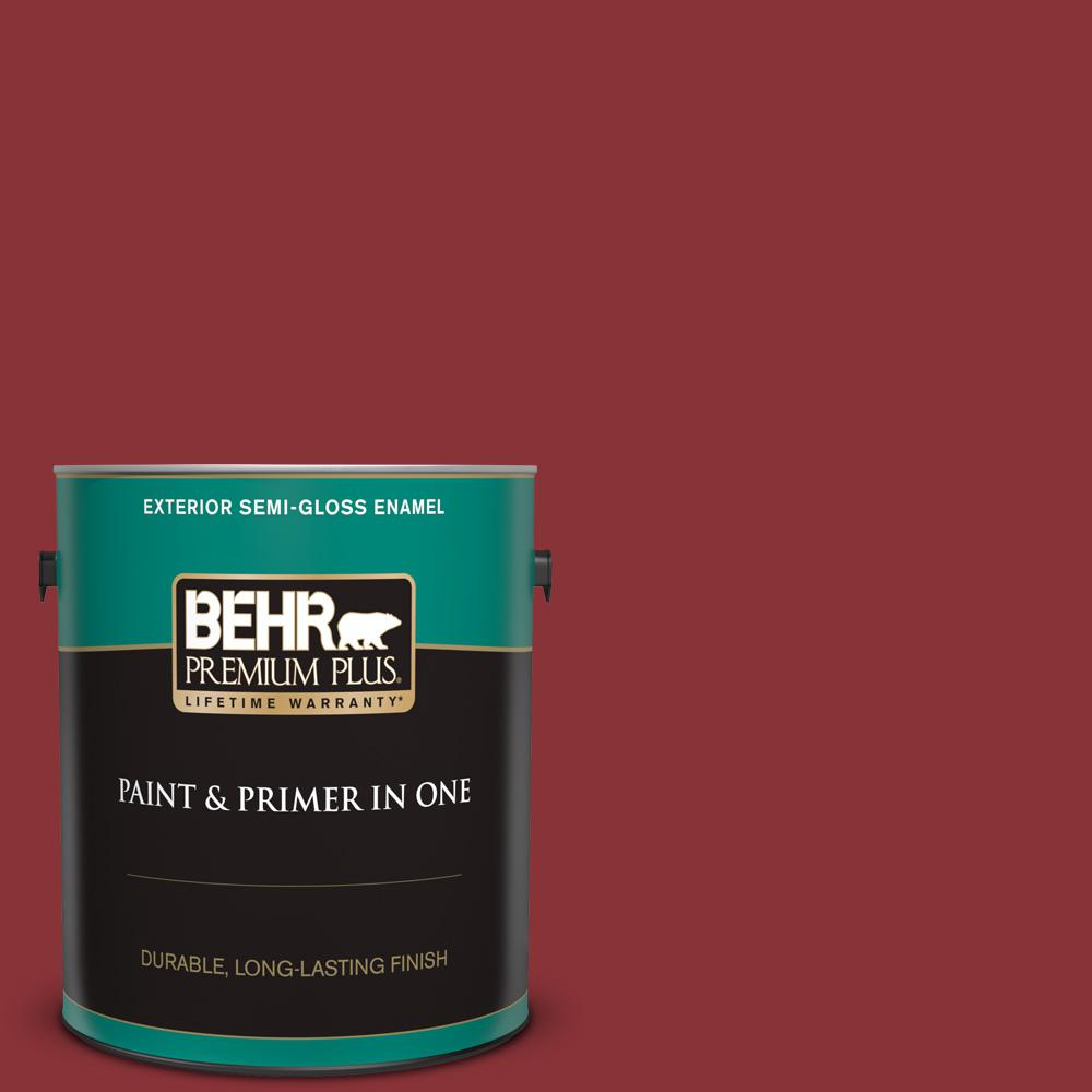 Behr Premium Plus 1 Gal Qe 07 Country Lane Red Semi Gloss Enamel Exterior Paint And Primer In One 534001 The Home Depot