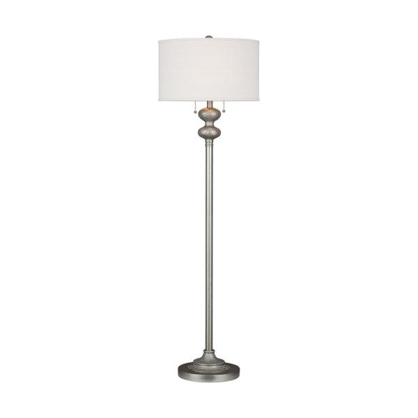 Sea Gull Lighting-2301302-Bainbridge - Two Light Floor Lamp  Weathered Pewter Finish with Beige Silk