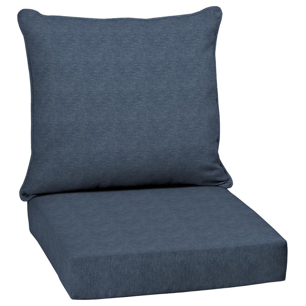 Denim Alair Texture 2-Piece Deep Seating Outdoor Dining Chair Cushion Set