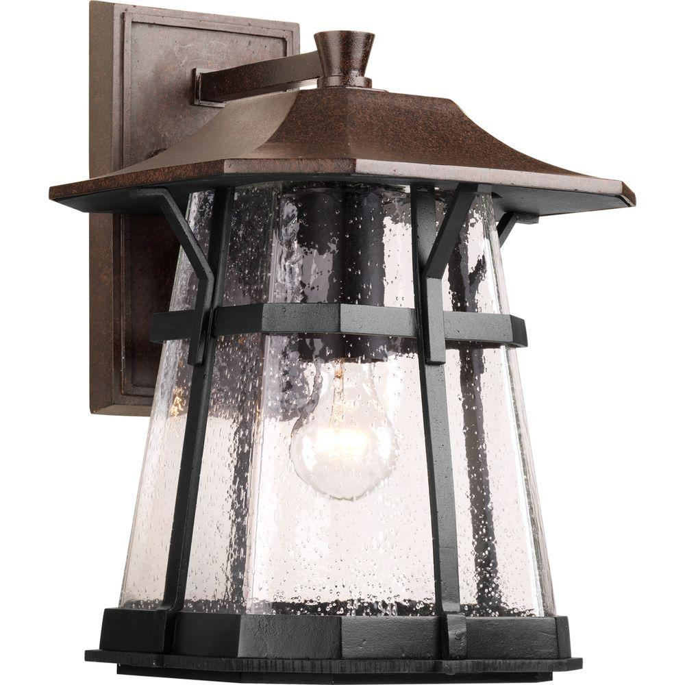Progress Lighting Derby Collection 1-Light Espresso 15 in. Outdoor Wall Lantern Sconce
