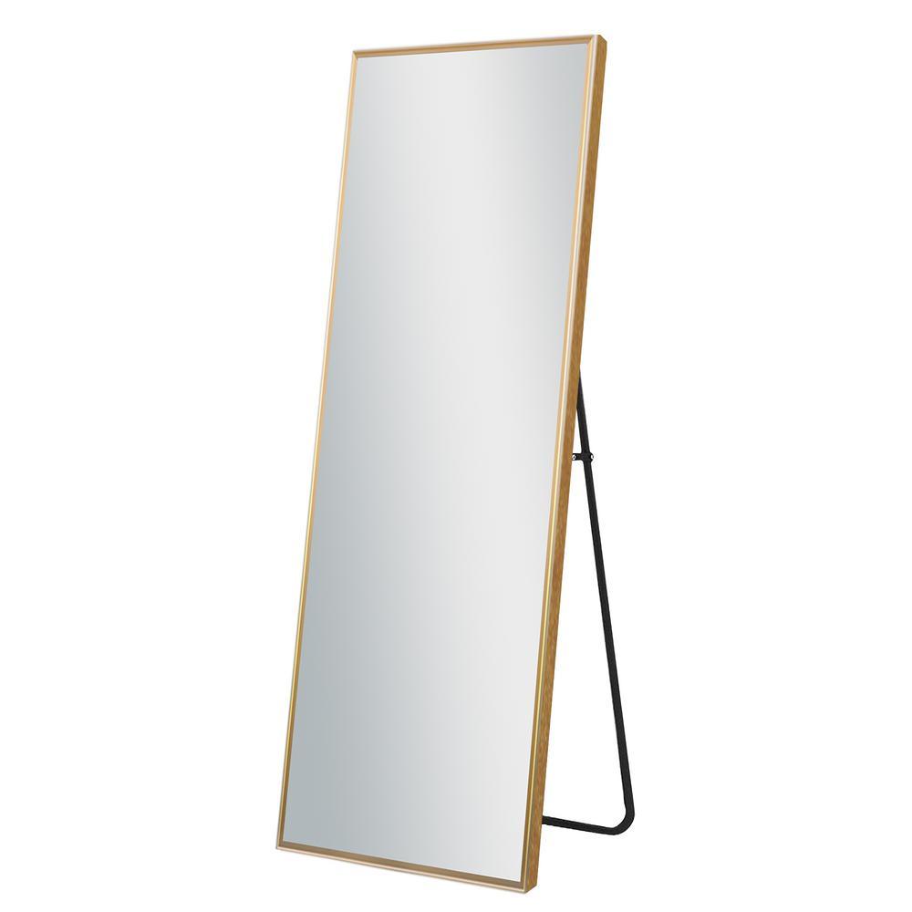 64 in. x 21 in. Modern Rectangle Metal Framed Gold Full Length Floor Mirror Standing Mirror