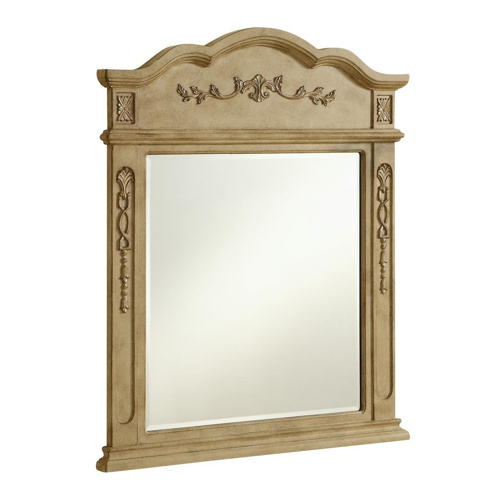 Timeless Home 38 in. H x 32 in. W Mid-Century Modern Traditional Irregular Framed Antique Beige MDF Wall Mirror