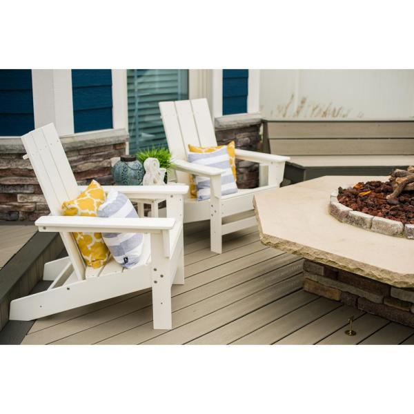 Aria White Recycled Plastic Modern Adirondack Chair with Side Table (2-Pack)