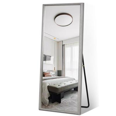 Grey Modern Frame with Gold Edge Large Full-length Floor Mirror Standing Leaning or Hanging in Living Room