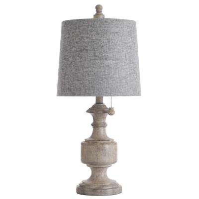 24.75 in. Distressed Gray/Cream Table Lamp with Heather Gray Hardback Fabric Shade