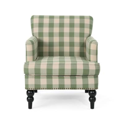 Harrison Green Checkerboard Fabric Club Chair with Stud Accents