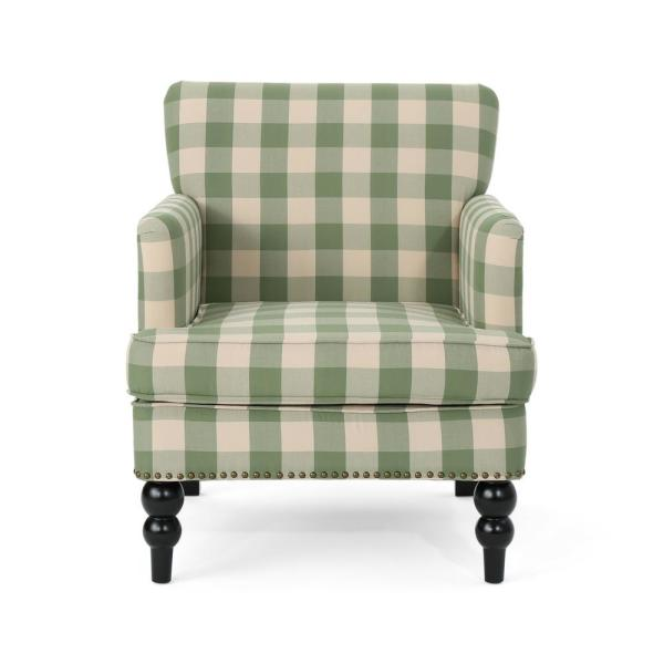 Noble House Harrison Brown Checkerboard Fabric Club Chair With Stud Accents 42697 The Home Depot