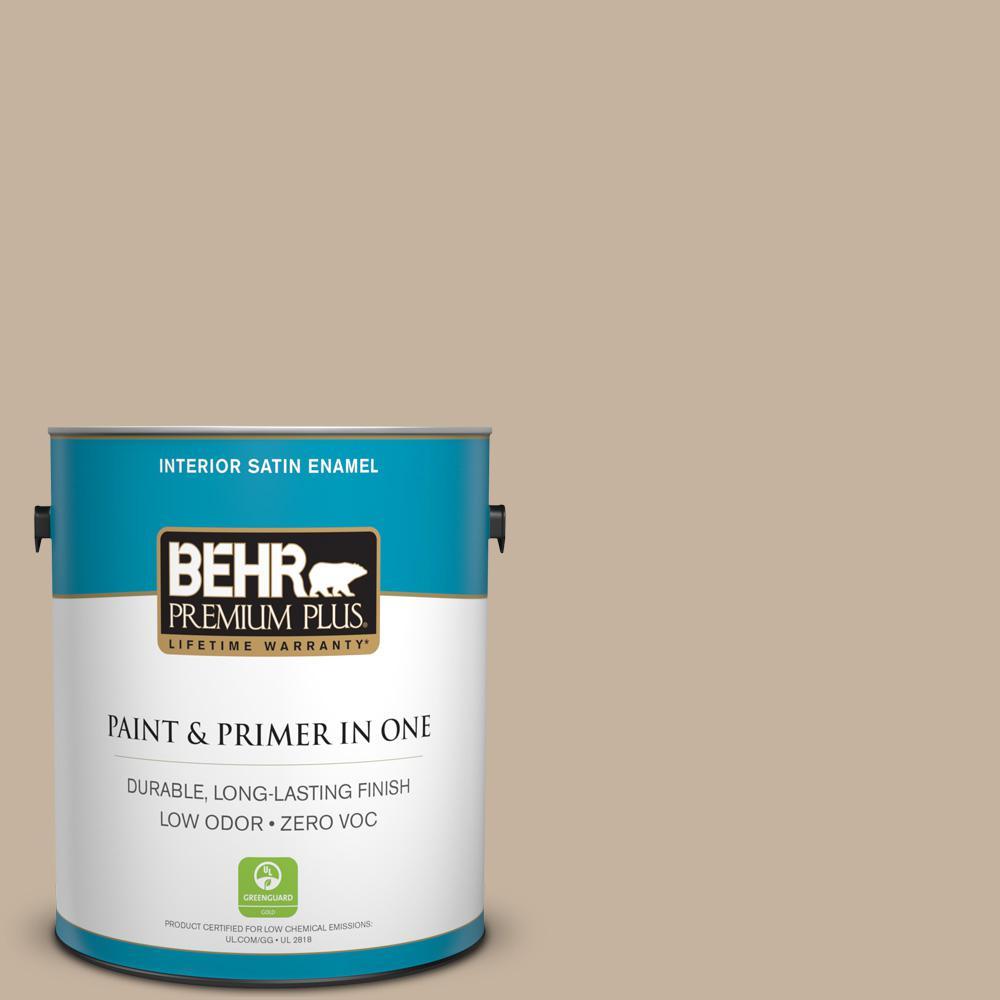 BEHR Premium Plus 1-gal. #ECC-20-1 Canyon View Zero VOC Satin Enamel Interior Paint
