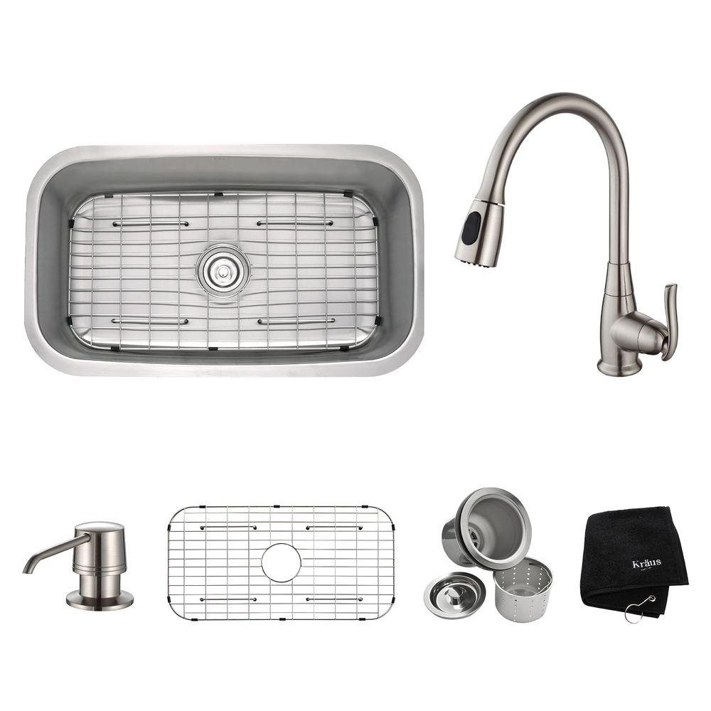 kraus khu100 30. KRAUS Standart PRO 30in. 16 Gauge Undermount Single Bowl Stainless Steel Kitchen Sink-KHU100-30 - The Home Depot Kraus Khu100 30 3