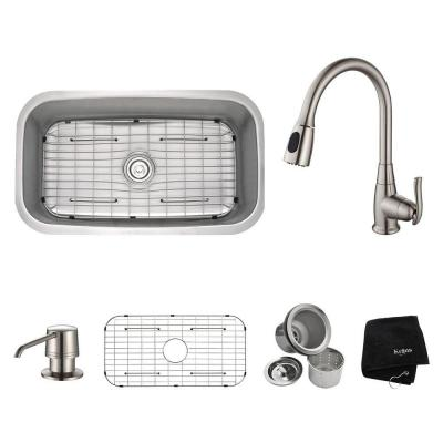 All-in-One Undermount Stainless Steel 32 in. Single Bowl Kitchen Sink with Faucet and Accessories in Satin Nickel