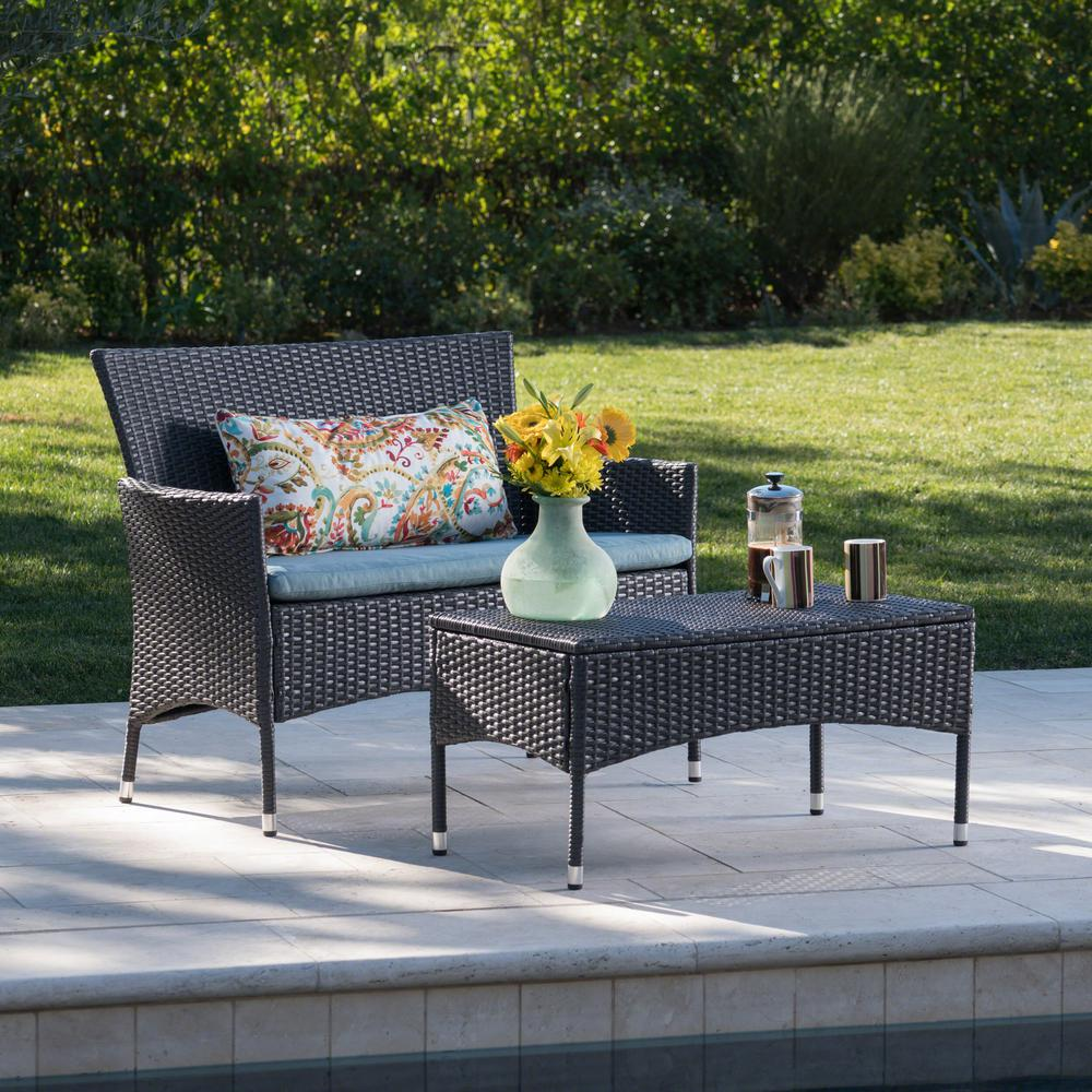 Noble House Malta Gray 2-Piece Wicker Patio Conversation Set with Teal Cushion