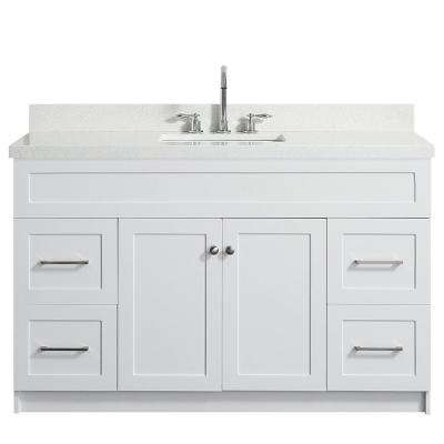 Hamlet 55 in. Bath Vanity in White with Quartz Vanity Top in White with White Basin
