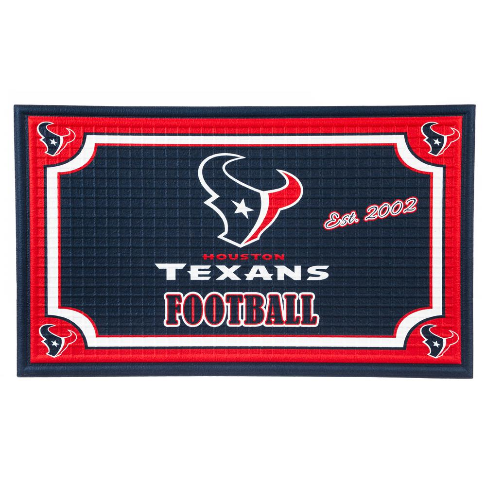 Evergreen Houston Texans 18 In. X 30 In. Embossed Welcome Mat