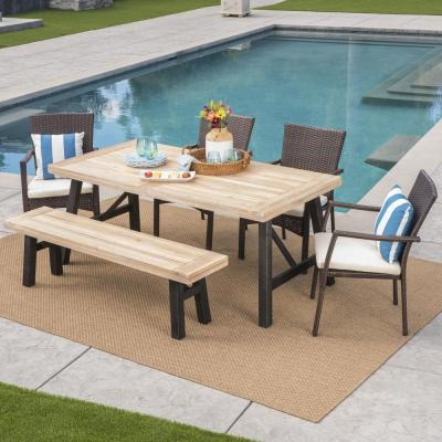 Christina 6-Piece Wood and Wicker Outdoor Dining Set with Crme Cushion