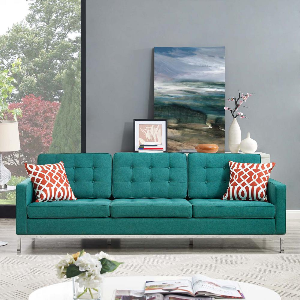 Modway Loft Teal Upholstered Fabric Sofa Eei 2052 Tea