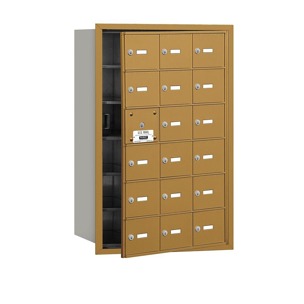 Salsbury Industries Gold USPS Access Front Loading 4B Plus Horizontal Mailbox with 18A Doors (17 Usable)