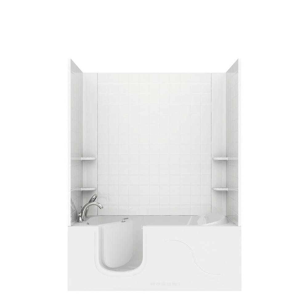 Universal Tubs Rampart 5 ft. Walk-in Air Bathtub with 4 in. Tile Easy Up Adhesive Wall Surround in White was $3535.99 now $2651.99 (25.0% off)
