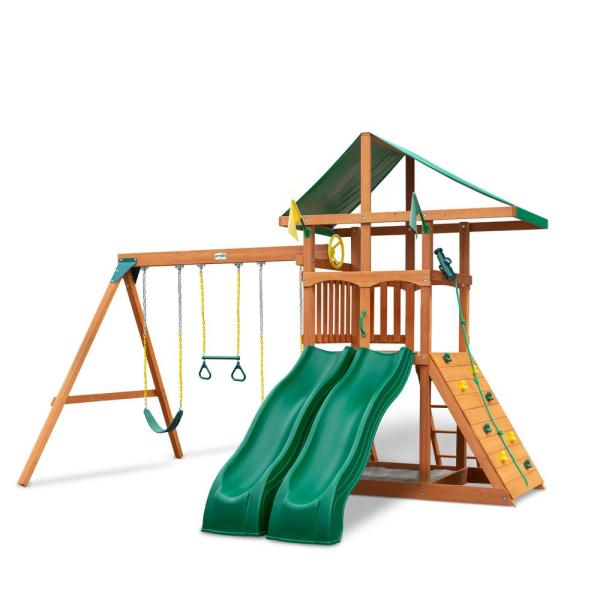 Installed Outing III Wooden Playset with Canopy Roof, 2 Wave Slides and Rock Wall