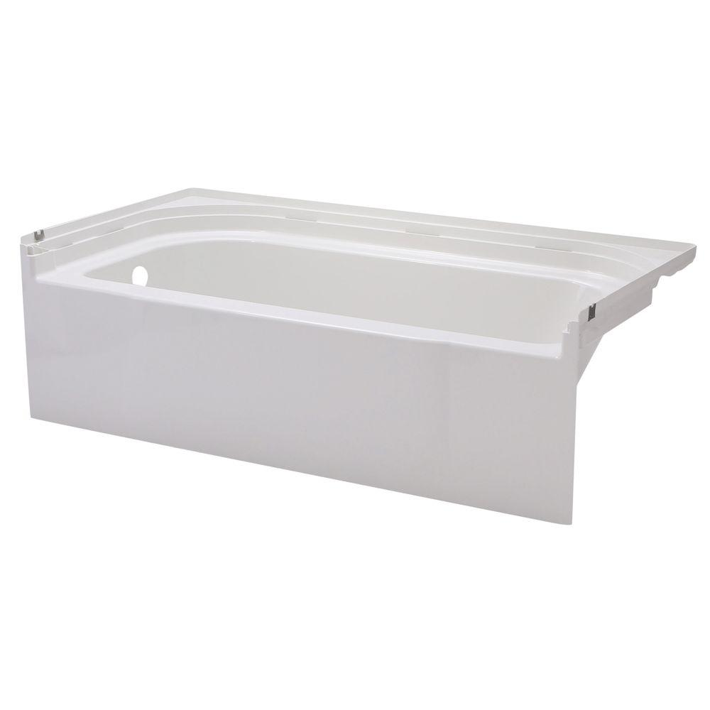 Superior Left Drain Rectangular Alcove Soaking Tub In White