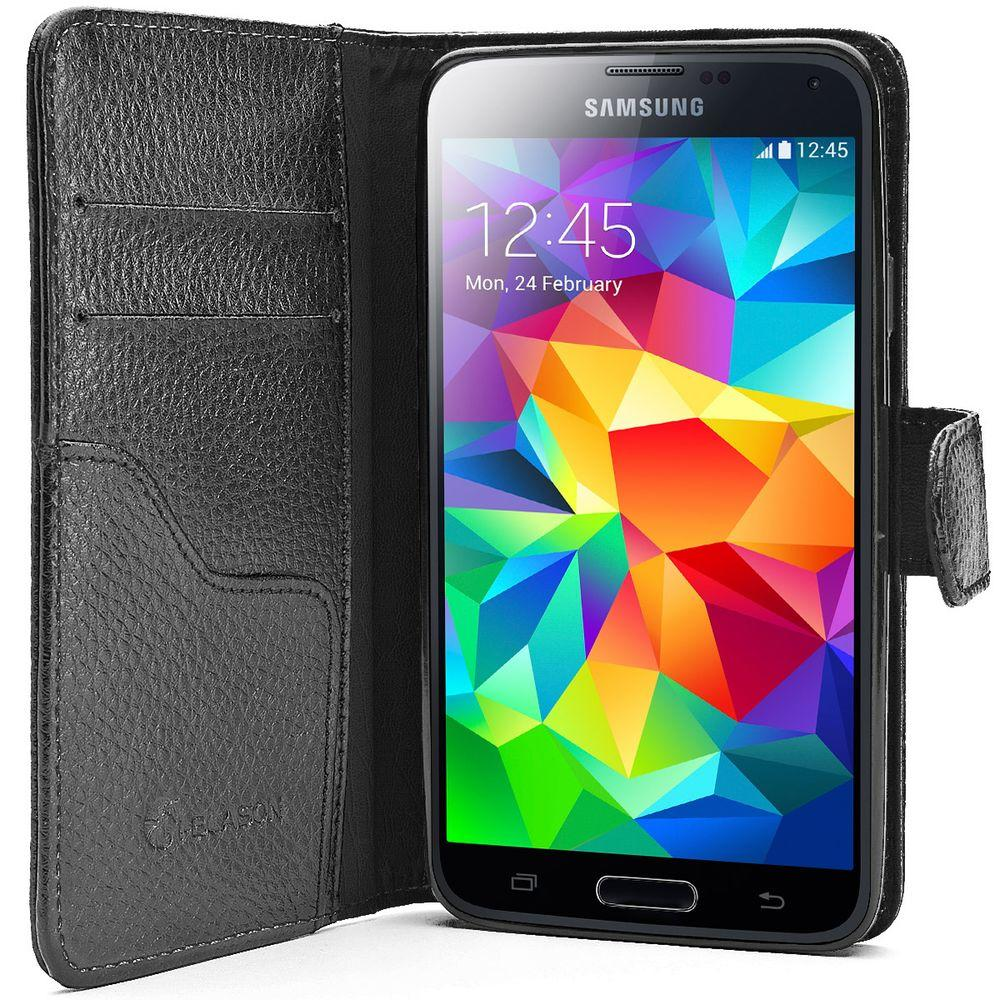 new products 12990 3428c SUPCASE Leather Wallet Case for Samsung Galaxy S5, Black