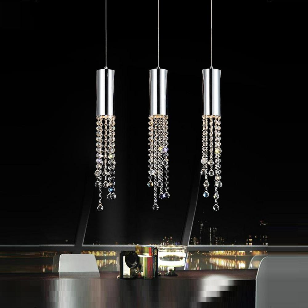 Extended 3-Light Chrome Chandelier
