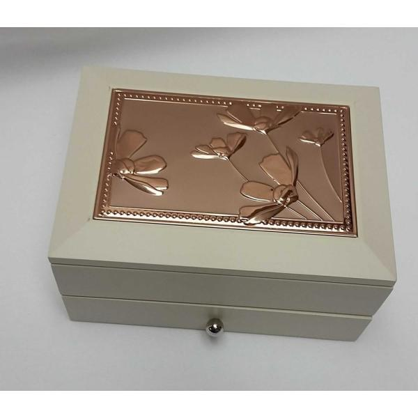 Heim Concept Jewelry Box Beige Mdf With Copper Floral Cover 61333 The Home Depot