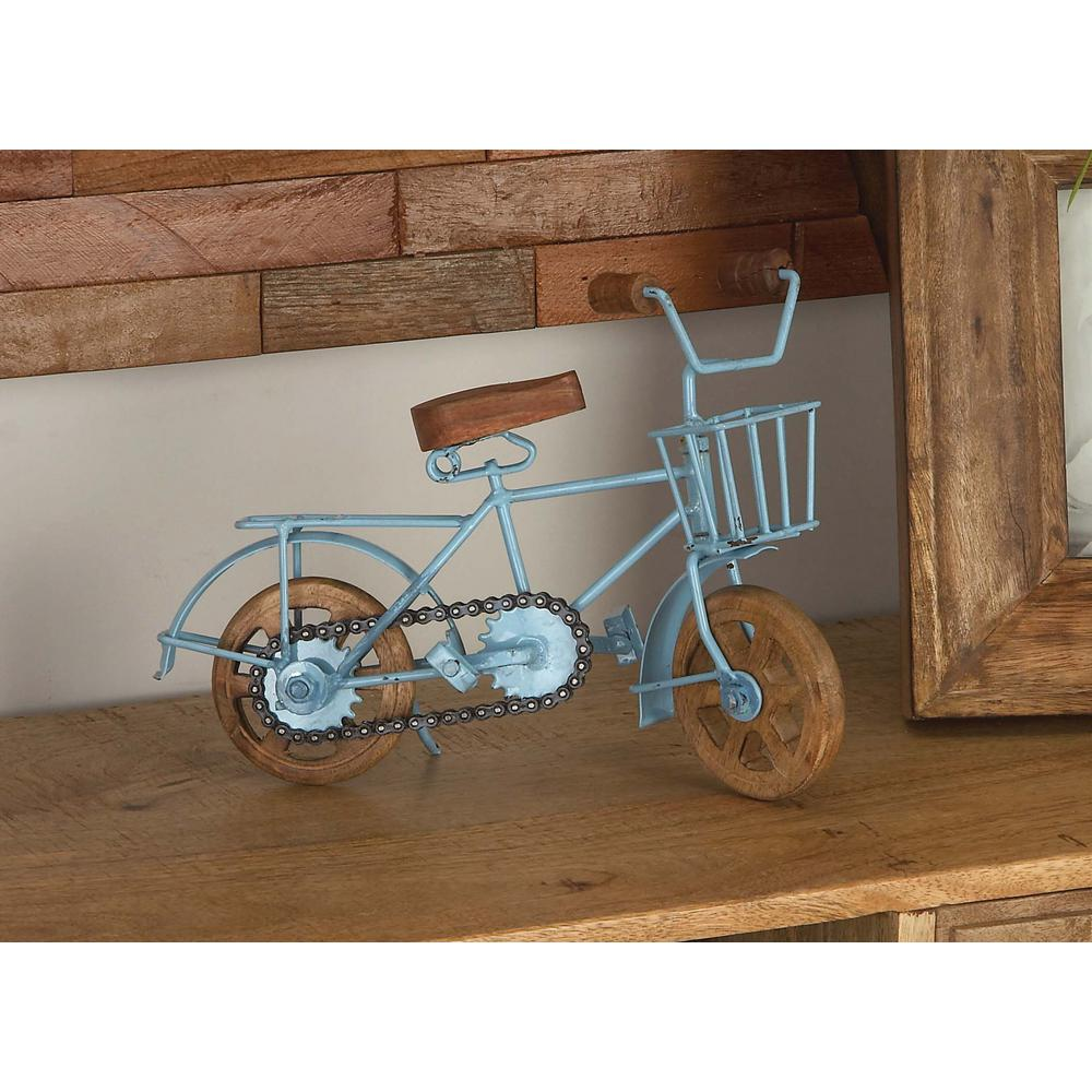 8 in x 10 in vintage iron and mango wood bicycle home for Bicycle decorations home