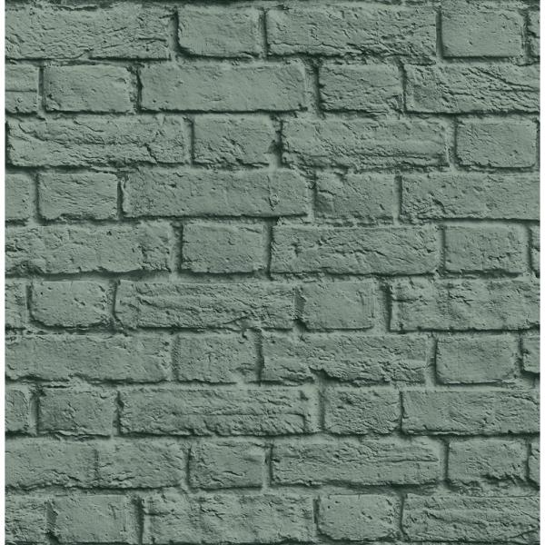 Brewster 8 in. x 10 in. Cologne Green Painted Brick Wallpaper