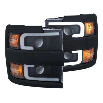 Projector Headlights With Plank Style Design Black w/Amber 15-17 Chevrolet Silverado 2500/3500