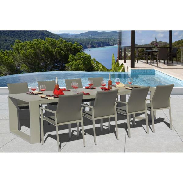 Ritz.X Grey Seagull 9-Piece Aluminum Outdoor Dining Set with Sling Set in Ash Grey