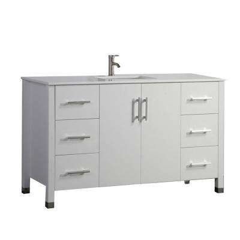 Moselle 60 in. W x 22 in. D x 36 in. H Bath Vanity in White with Microstone Vanity Top in White with White Basin