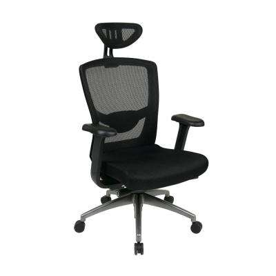 Executive Black ProGrid Back Chair with Headrest