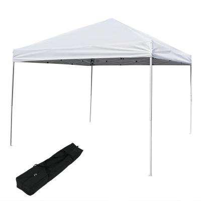 10 ft. x 10 ft. White Blue Quick-Up Straight Leg Canopy with Carrying Bag
