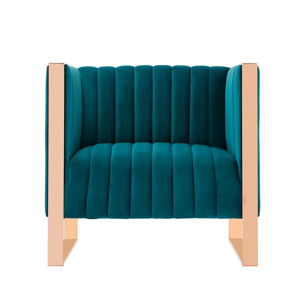Trillium Teal Velvet Accent Chair