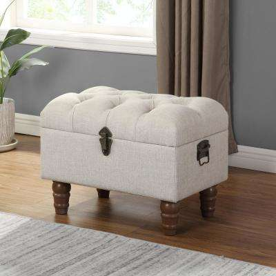20 in. x 15 in. Darrien Tufted Linen Upholstered Storage Ottoman
