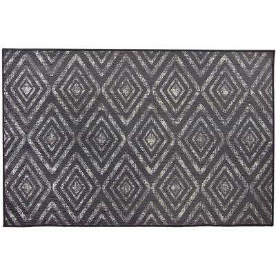 Washable Prism Dark Grey 3 ft. x 5 ft. Stain Resistant Accent Rug