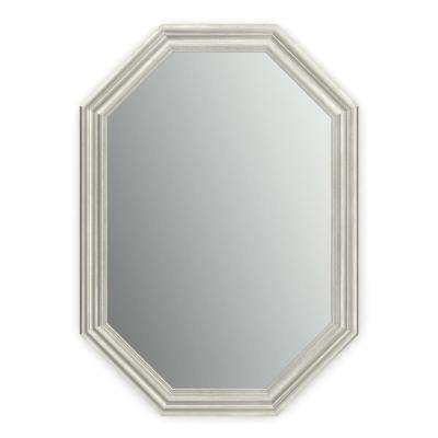 33 in. x 46 in. (L3) Octagonal Framed Mirror with Standard Glass and Easy-Cleat Float Mount Hardware in Vintage Nickel