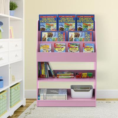 37.01 in. Pink Faux Wood 5-shelf Etagere Bookcase with Storage