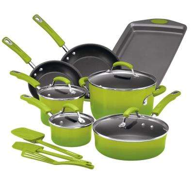 14-Piece Green Gradient Cookware Set with Lids
