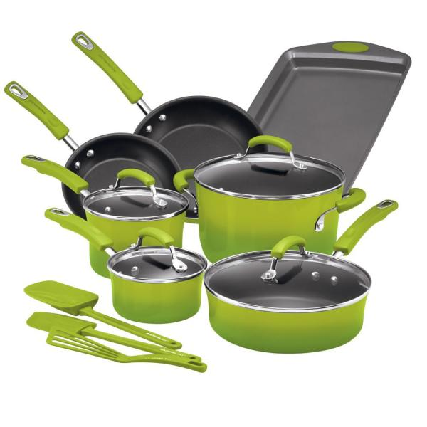 Rachael Ray 14-Piece Green Gradient Cookware Set with Lids 17506