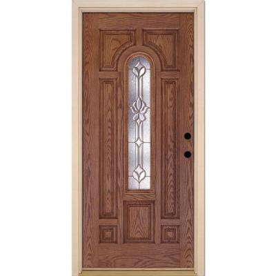 37.5 in. x 81.625 in. Medina Brass Center Arch Lite Stained Medium Oak Left-Hand Inswing Fiberglass Prehung Front Door