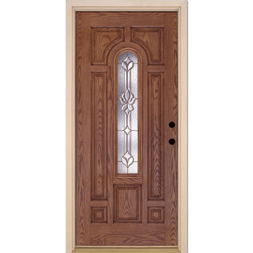 37.5 in. x 81.625 in. Medina Brass Center Arch Lite Stained Medium Oak Left-Hand Inswing Fiberglass Prehung Front Door