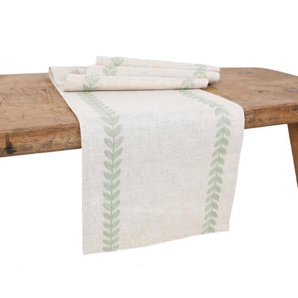 15 in. x 90 in. Cute Leaves Crewel Embroidered Table Runner, Green/Natural