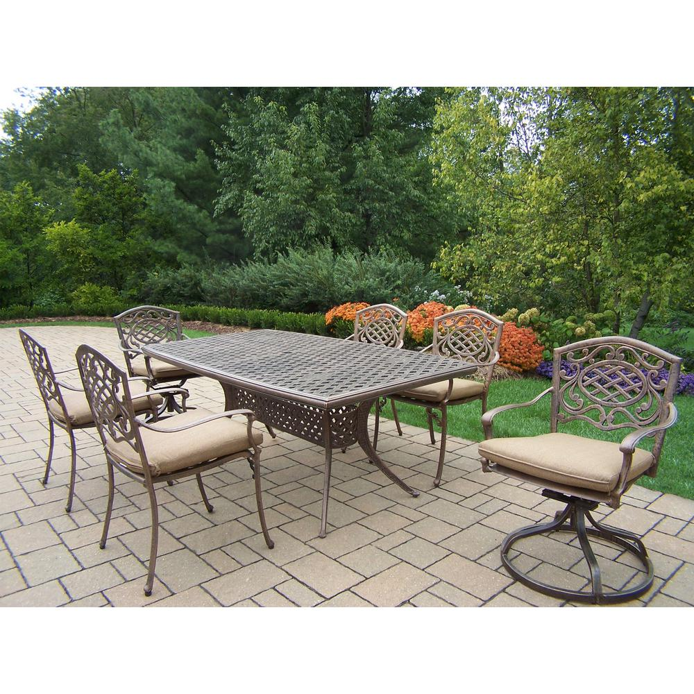 Elite 7-Piece Aluminum Outdoor Dining Set with Beige Cushions