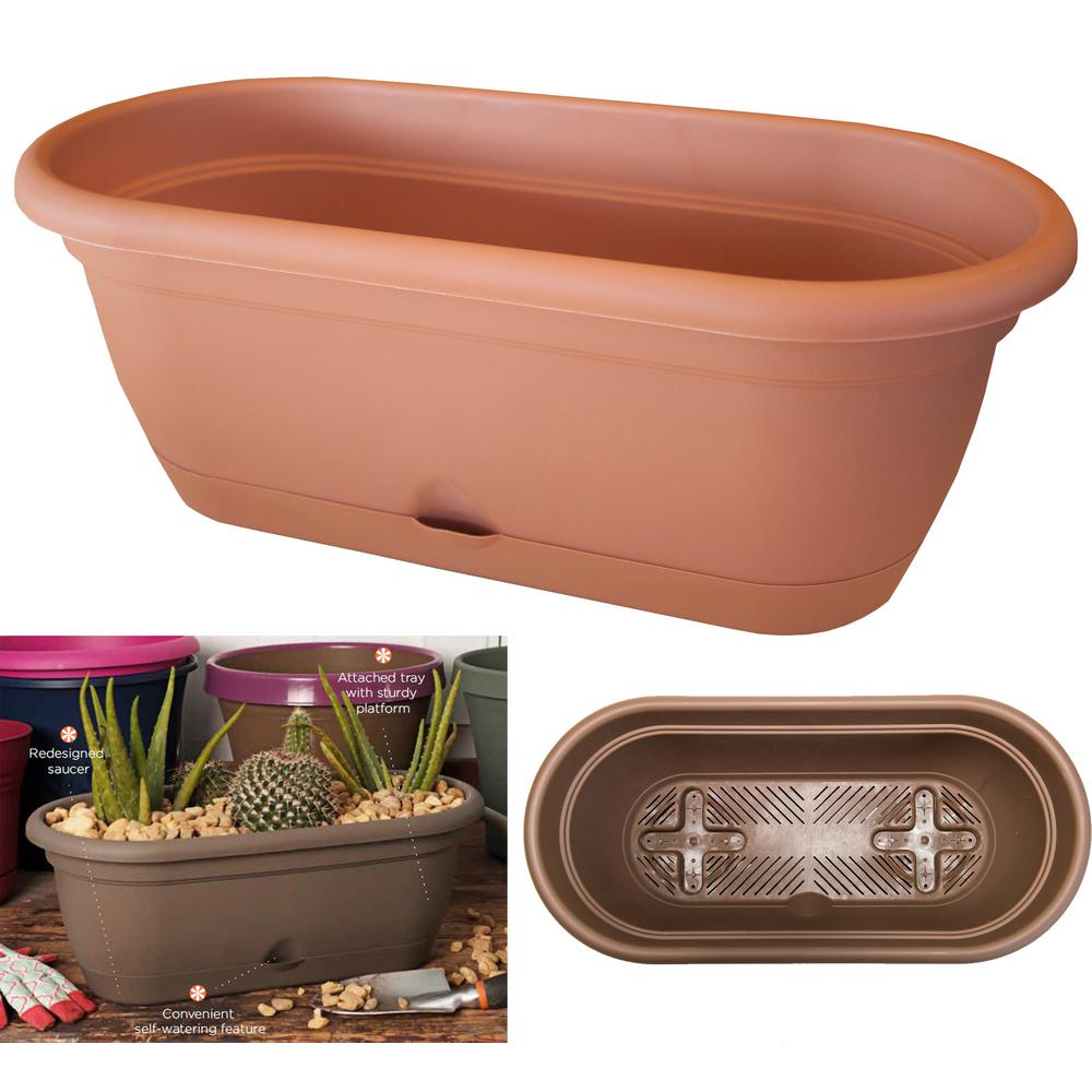 Bloem 18 x 7.5 Terra Cotta Lucca Plastic Self Watering Window Box