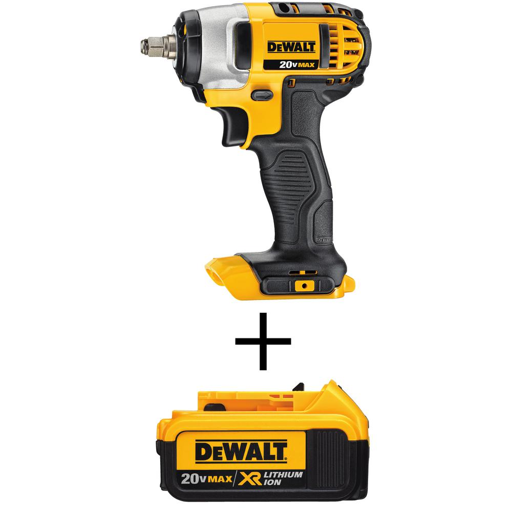 DEWALT 20-Volt MAX Li-Ion Cordless 3/8 in. Impact Wrench with Hog Ring (Tool-Only) with 20-Volt MAX XR Li-Ion Battery 4 Ah