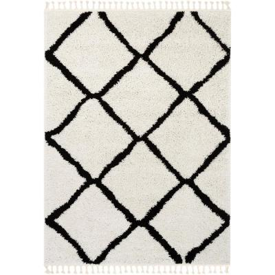 Cabana Celosia Moroccan Shag Black 7 ft. 10 in. x 9 ft. 10 in. Soft Area Rug