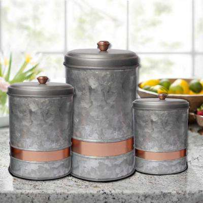 3- Piece Galvanized Metal Lidded Gray Canister with Copper Band