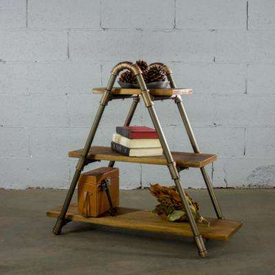 Rustic Brown Industrial Pipe Three Tiered A-Frame Bookshelf